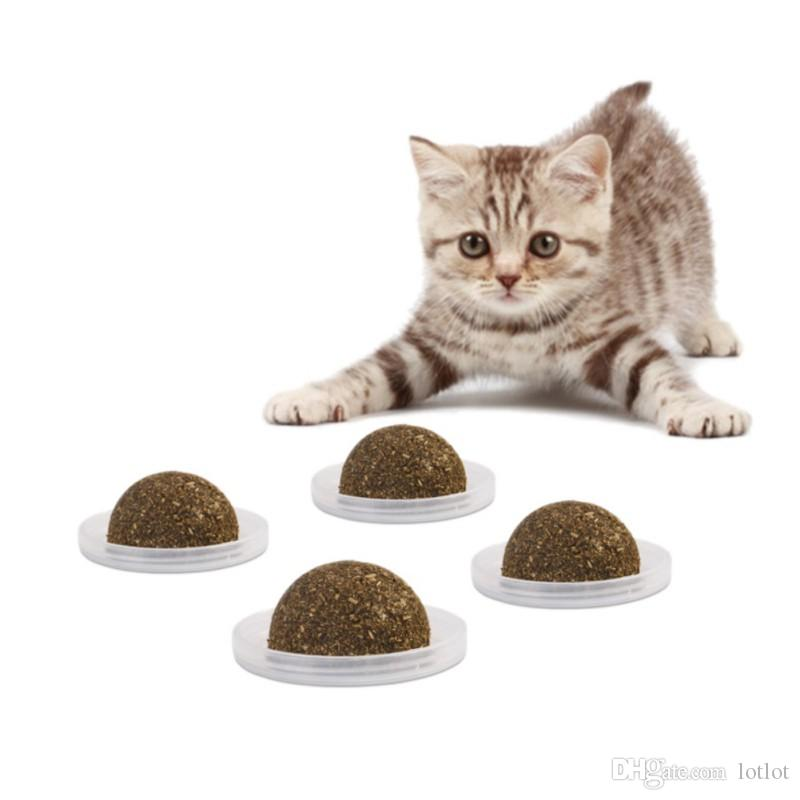 Cat Solid Catnip Treat Ball with Nourishes Inside Nutrition Gel Energy Ball Stick to the Wall Toy Cat Snacks Licking for Kitten