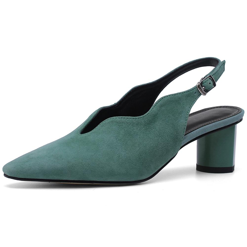 Cheap Shoes Annymoli Women Glove High Heels Kid Suede Thick High Heels Slingbacks Genuine Leather Buckle Pumps Ladies Size 33-43