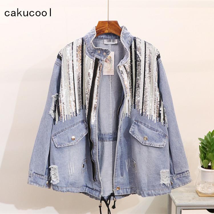 4e5818a38 Cakucool Boho Denim Jacket Female Sequins Shinny Lace Up Jeans Coat Bomber  Jacket Long Sleeves Hippie Jean Colete Feminino Large Leather Bomber Jackets  ...