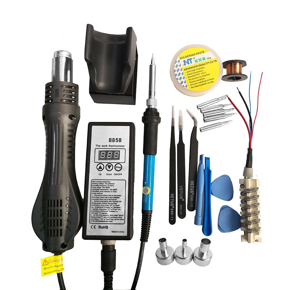 Pistola de aire caliente, Kit de estaci/ón de soldadura pistola de aire caliente port/átil con LED pantalla digital soldador Temperatura regulable, con 4/boquillas