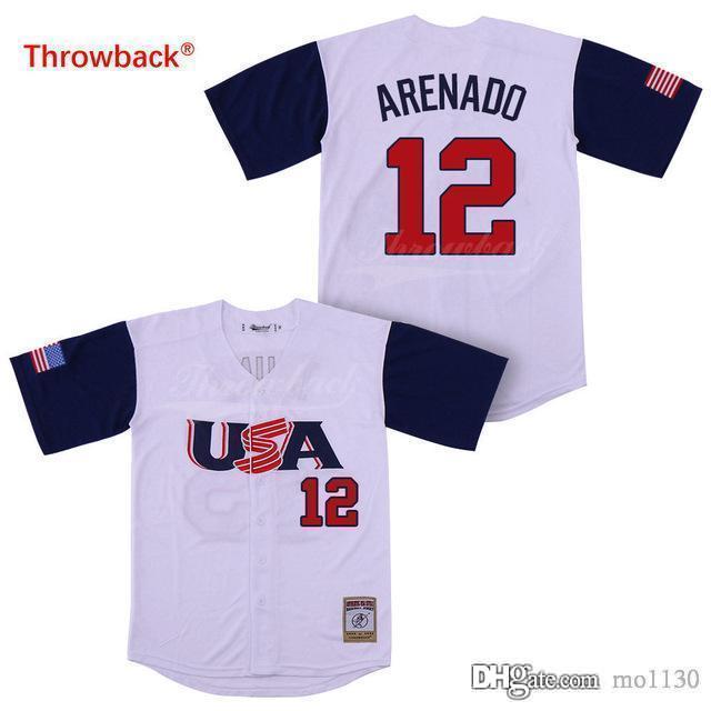 new style 8adfd 07745 Throwback Jersey Men's 12 Arenado Baseball Jerseys USA Jerseys Free  Shipping Size S-XXXL Cheap