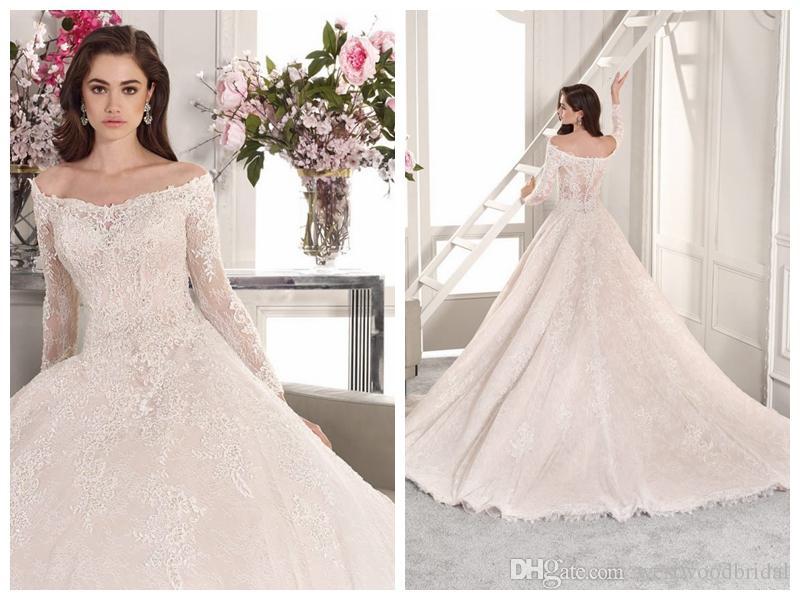 591c26a210d5 Discount 2019 Wedding Dresses Robe De Mariée Demetrios 863 Ivory Lace A  Line Buttons Long Sleeve Applique Court Train Wholesale Custom Made Wedding  Dress ...
