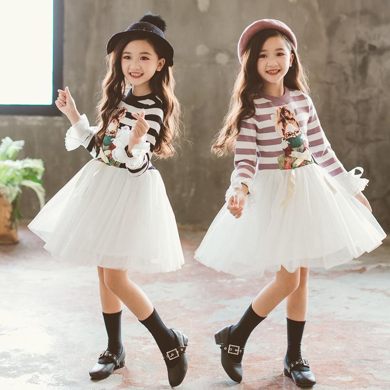 67c2519f60f67 Satın Al Yüksek Kaliteli Genç Çizgili Kızlar Elbiseler Örme Pamuk Çocuk  Giyim Moda Bebek Kız Giysileri Frocks Casual Elbise CA170, $28.41 |  DHgate.Com'da