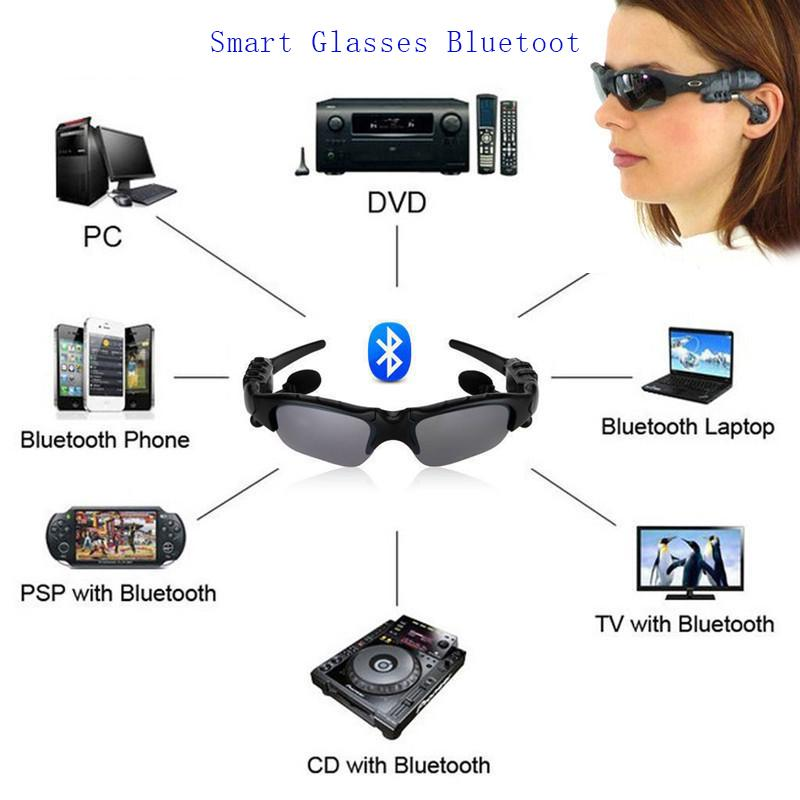 High Tech Smart Glasses Bluetooth V4 1 Sunglass Sports Headset MP3 Player  Bluetooth Phone Wireless Earphones Eyeglasses with package