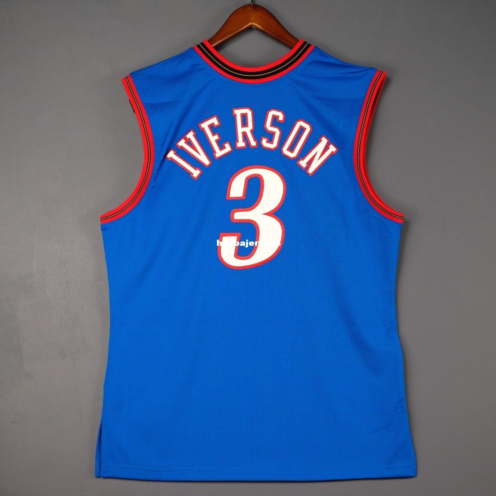 wholesale dealer f0ae3 105bc 100% Stitched Mitchell Ness #3 Allen Iverson wholesale 1999-2000 Jersey Men  Mens Vest Size XS-6XL Stitched basketball Jerseys Ncaa