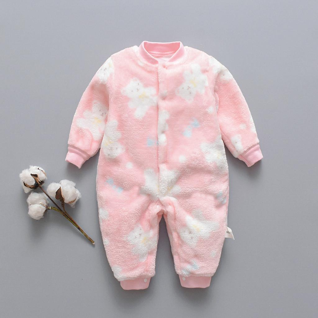 0-18M Newborn Infant Baby Jumpsuits Cartoon costume Bear Fleece Warm Boys girls Romper Jumpsuit Soft Pajamas Outfits Clothes