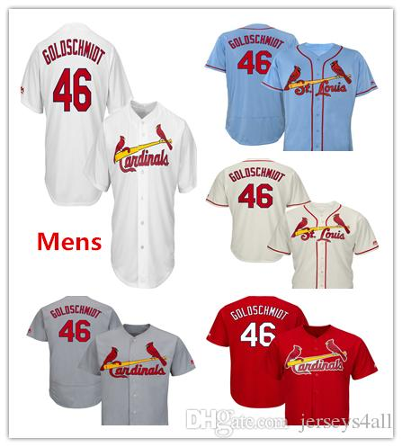 2fca316f9c27 2019 Mens Cardinals Baseball Jerseys 46 Paul Goldschmidt Jersey Cream White  Red Gray Grey Blue Green Salute Players Weekend All Star Team Logo From ...