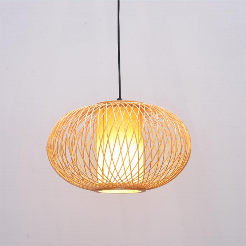 Acheter Main Lampe De Bambou En Osier De Rotin Vague Ombre Pendentif ...