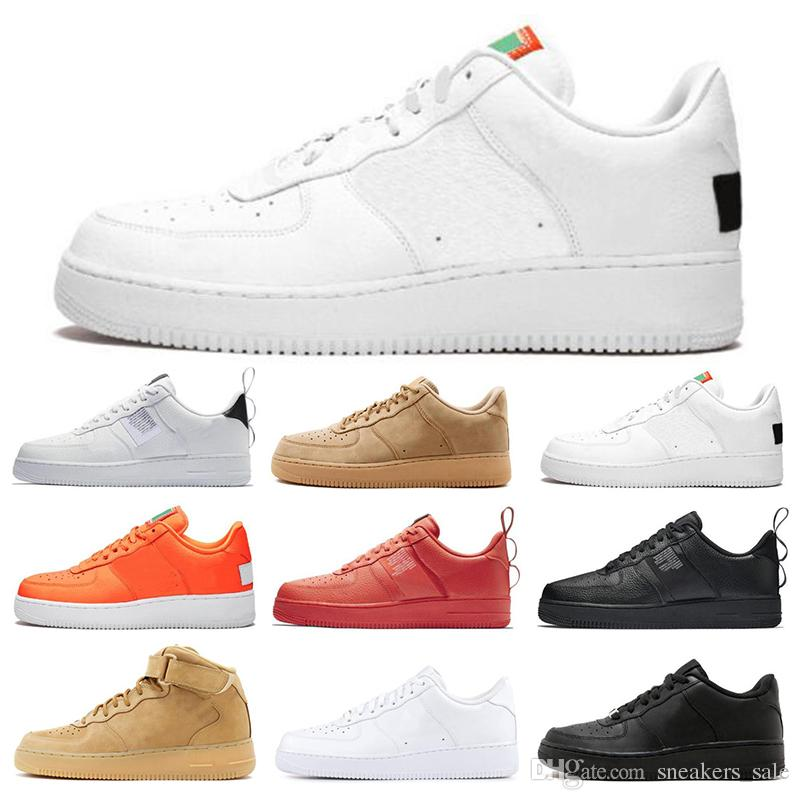 New 1 Utility Classic Black White Dunk Men Women Running Shoes red one Sports Skateboarding High Low Cut Wheat Trainers Sneakers Size 36 45
