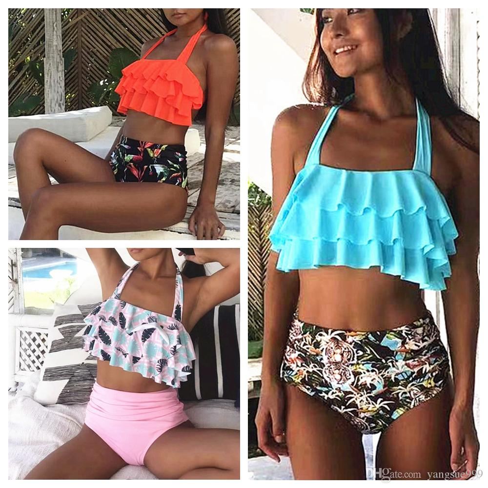 51366305d7dc ARXIPA Conjunto de bikini de cintura alta para mujer Halter Tie Traje de  baño Ruffle Traje de baño Floral Traje de baño Sin respaldo Dos piezas ...