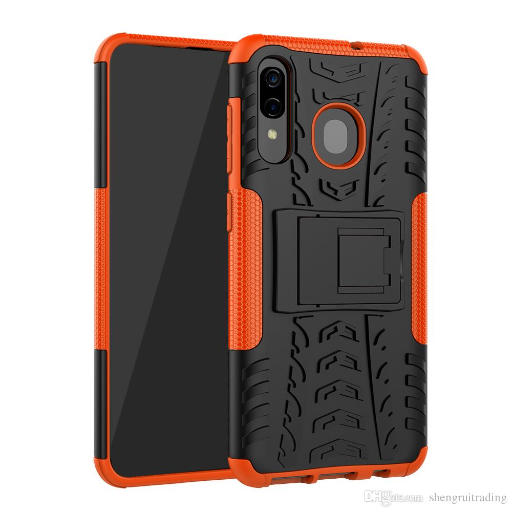 New Arrival Hybrid Kickstand Rugged Rubber Armor Hard PC+TPU 2 In 1 Back Case Stand For Samsung Galaxy A30 M10