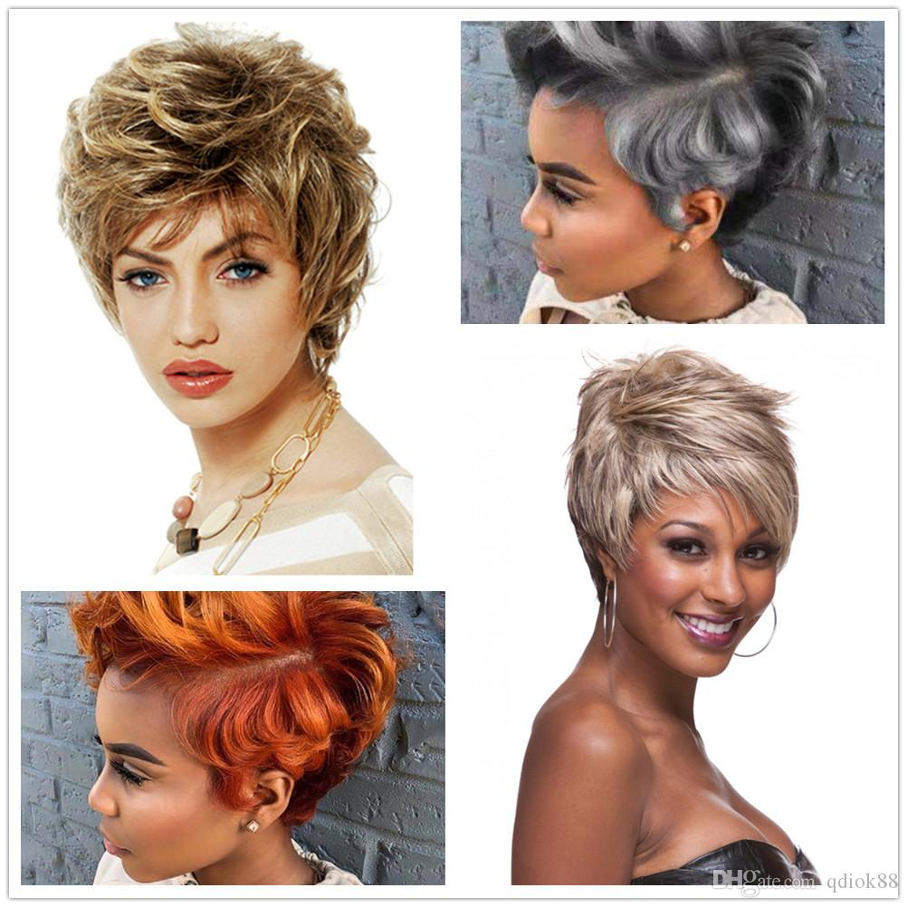 Cheap price fashionable 10 inch Short curly mixcolor synthetic hair wigs no MOQ black silvery white blonde brown yellow