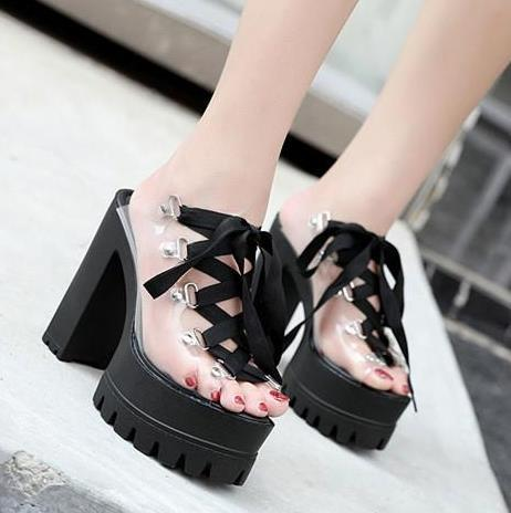 d1a3d217eef 13cm Sexy Lace Up Thick High Heels PVC Transparent Platform Sandals Women  Slipper Shoes 2018 Size 34 to 39 Gladiator Sandals Designer Sandals Sandals  for ...