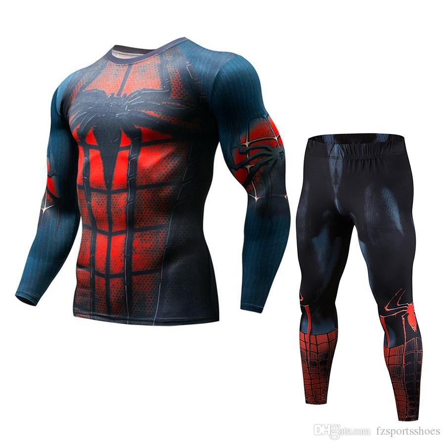 Mens Compression Suit Men Jogging 2pcs/Sets MMA Red Spiderman Batman Captain America Running Clothes For Men Ropa Gym Hombre #321534