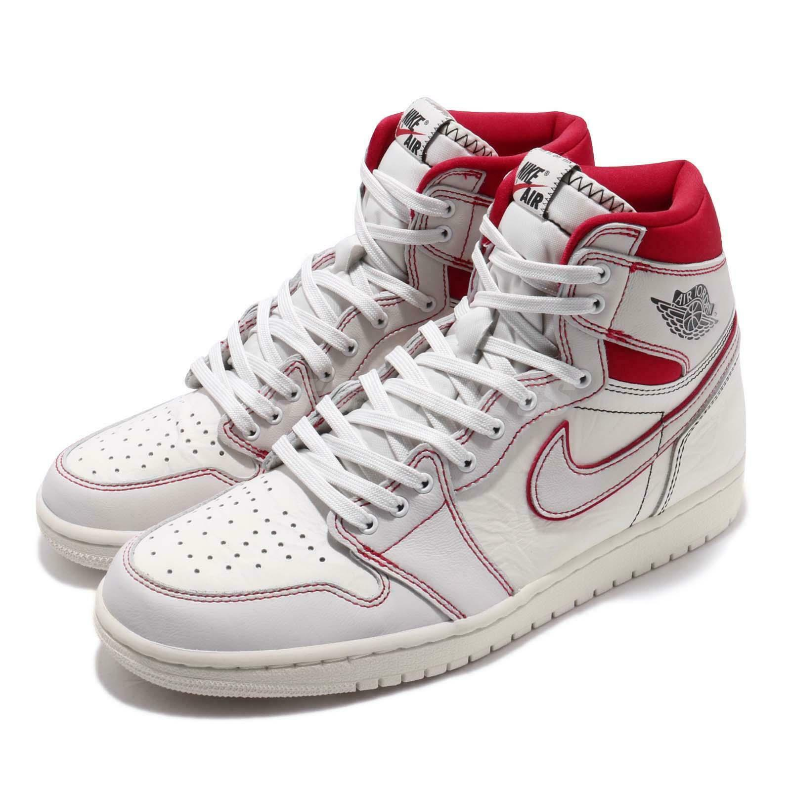 fbd06959634 Nike Air Jordan 1 Retro High OG Phantom Sail Red AJ1 Sneakers 555088 ...