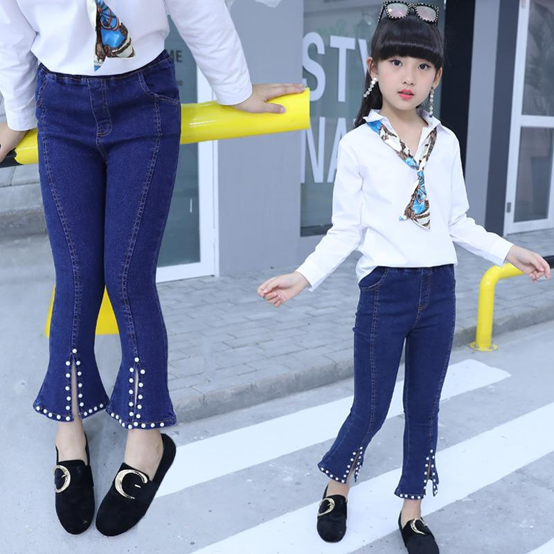 b6038bc1f Girl Jeans Children s Trousers of Spring New Years Girls Fashion Flared  Jeans Stretch Kids Pants Children s Clothing 4-12 Years. Store-wide Discount
