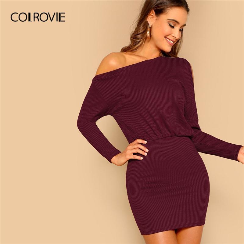 09f280e4886 COLROVIE Burgundy Asymmetric Cold Shoulder Christmas Ribbed Knit Blouson  Casual Dress 2019 Spring Long Sleeve Bodycon Mini Dress Plus Size Party  Dresses ...