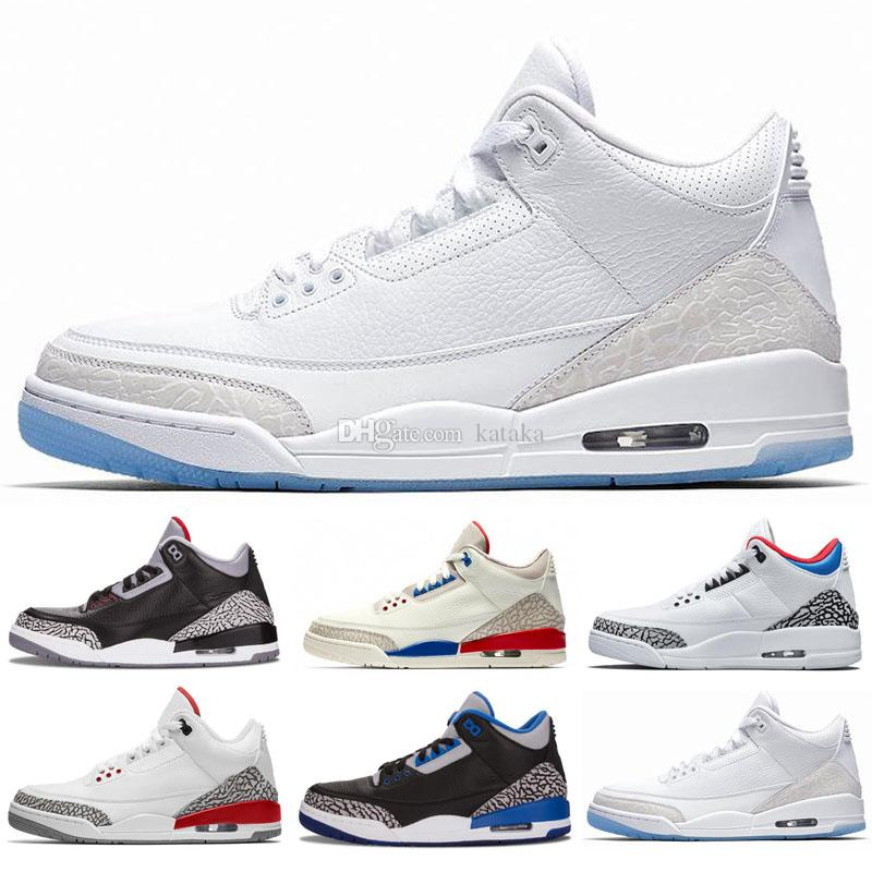 huge selection of f35c0 6573f New Red Tinker Mocha 3s Black Cement Pure retros retro White UNC Basketball  Shoes 3 Mens Katrina Chlorophyll International Flight Sneakers