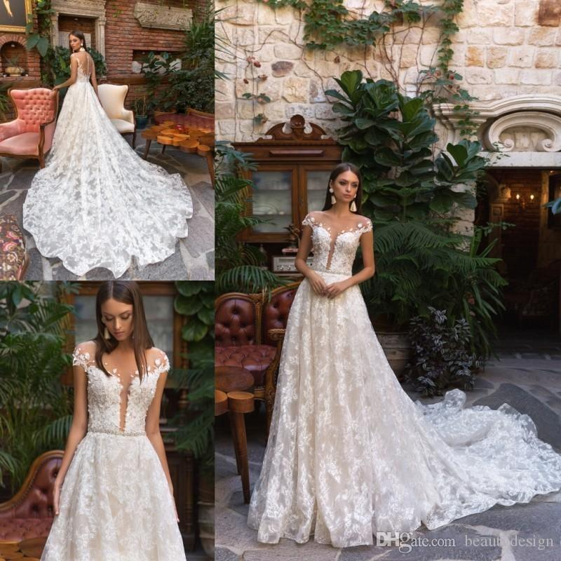 252d0008be Vintage Wedding Dresses Long Full Lace Applique Sheer Neck Elegant Vintage  Bohemian Bridal Gowns Sweep Train Custom A Line Wedding Dresses