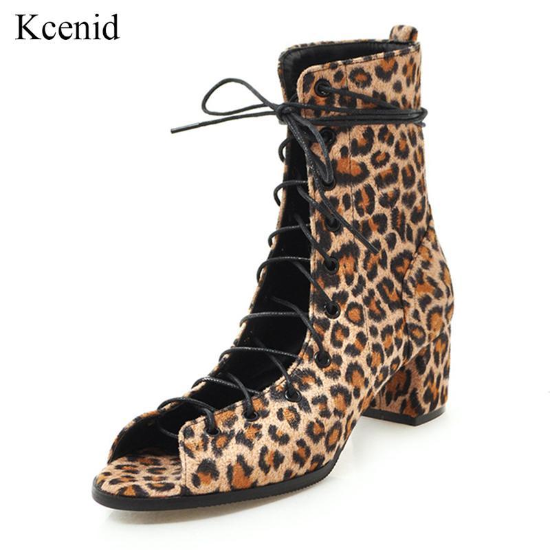 7e0d3e1c93 Kcenid Fashion square heel leopard print shoes peep toe lace-up women ankle  boots summer shoes woman cut-outs boots big size 43