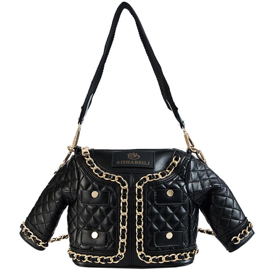 28a21510d3 Fun Personalized Fashion Black Jacket Styling Quilted Women Handbag Purse  Chain Women Shoulder Bag Lady Cross Body Messenger Bag Black Leather  Handbags Cute ...