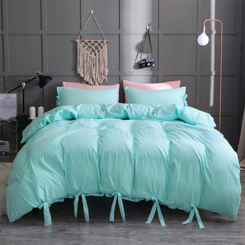 Großhandel 10 Farben Bettwäsche Set Faux Washed Cotton Weiche