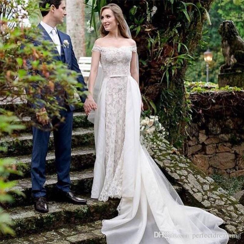 13533548275 Discount Romantic A Line Lace Wedding Dresses With Detachable Train Buttons  Back Bridal Gowns Off The Shoulder Wedding Gowns Vestido De Novia Custom  Online ...