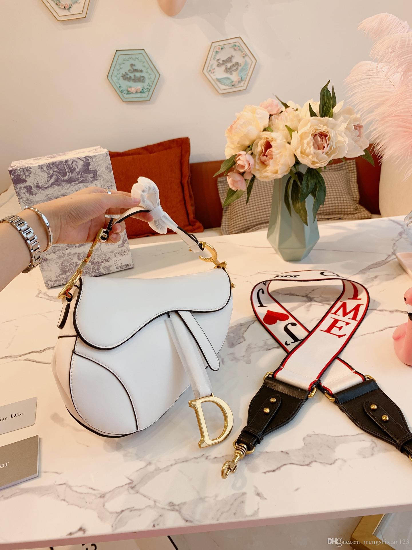 High quality leather ladies classic letter handbag saddle bag designers ladies handbags hand strap