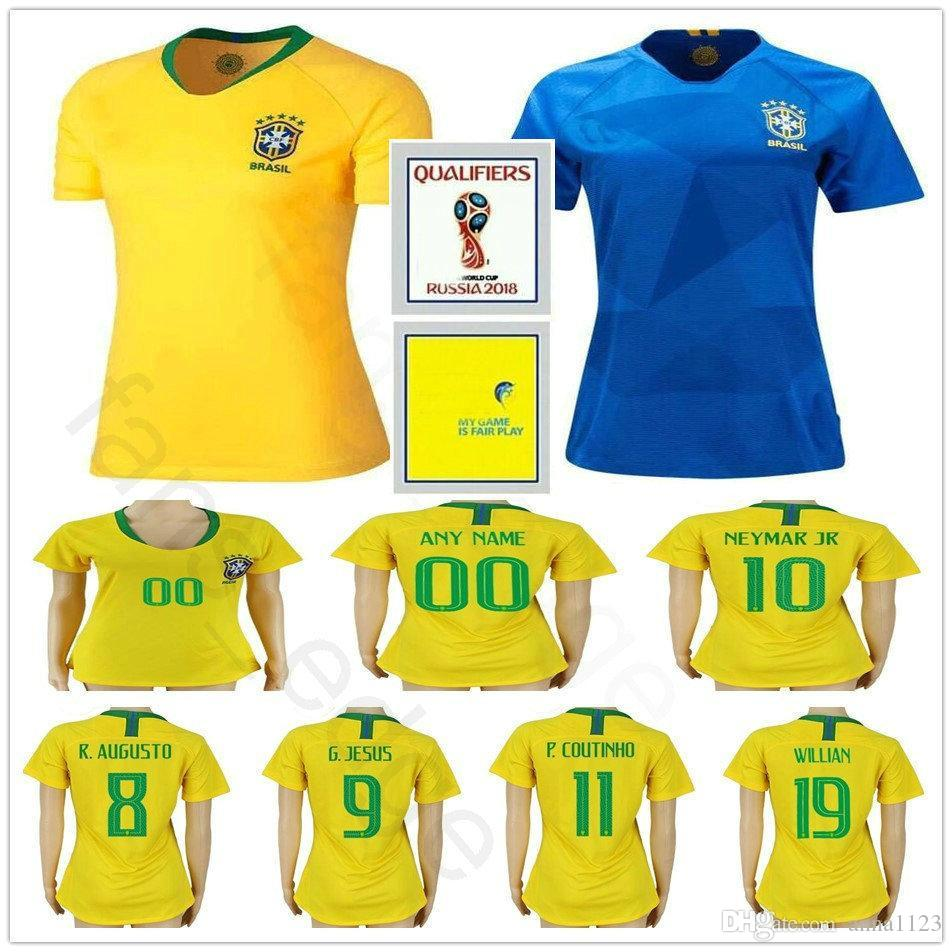 9c3005ec0 2019 2018 World Cup Women Brasil Soccer Jersey 10 NEYMARJR PELE G.JESUS  P.COUTINHO RONALDINHO COUTONHO Custom Woman Men Youth Football Shirt From  Anna1123