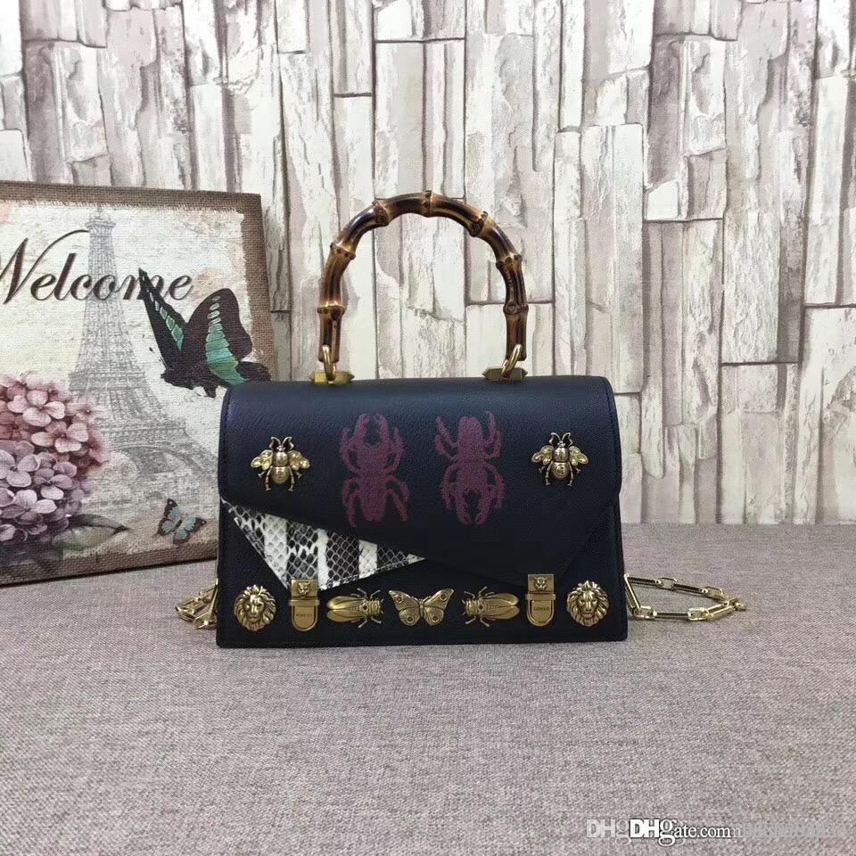 1468f8f5e002 Лучшее качество G Ottilia насекомые бамбук натуральная кожа сумки Сумки на  ремне топ ручка Сумка женская мода кожа женские сумки 488715