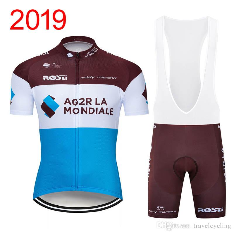 New Men AG2R Team Cycling Jersey Sets Respirable manga corta mtb bicicleta camisa 3D Gel Pad baberos cortos Mountain Bicycle clothing Y032901