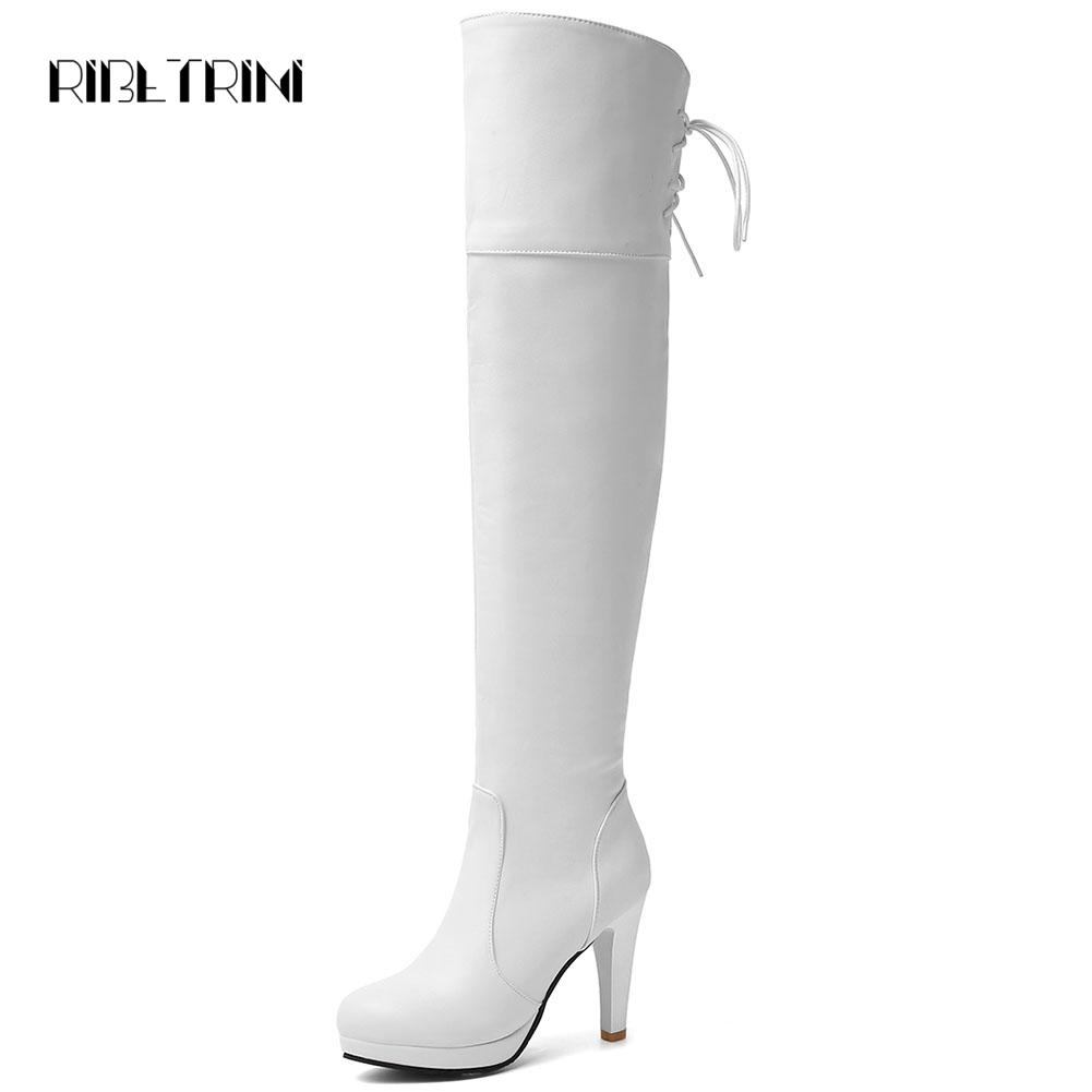 RIBETRINI High Heel Boots Over The Knee Boots 2019 Black White Round Toe Platform Autumn Winter Shoes Woman Big Size 32-48