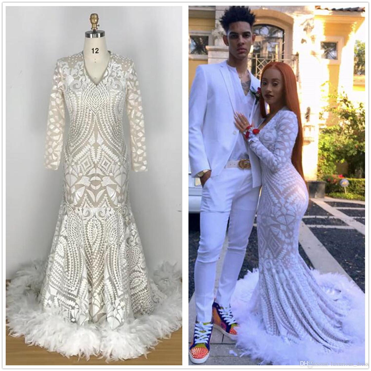 6d39f6e525b00 Long Elegant Prom Dresses 2019 Sexy Mermaid V-neck Long Sleeve Sequin  African Feather White Ladies Evening Dresses robe de soiree