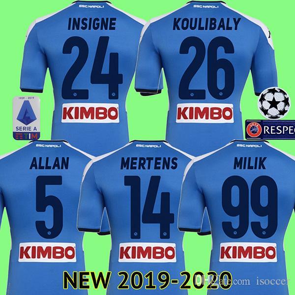 68b1c8b4962421 Acquista 19 20 Maglia Da Calcio Napoli Maglia Da Calcio Napoli 2019 2020  KOULIBALY Maglia Da Calcio INSIGNE MILIK Maglia Da Piede ALLAN MERTENS  Camisa A ...