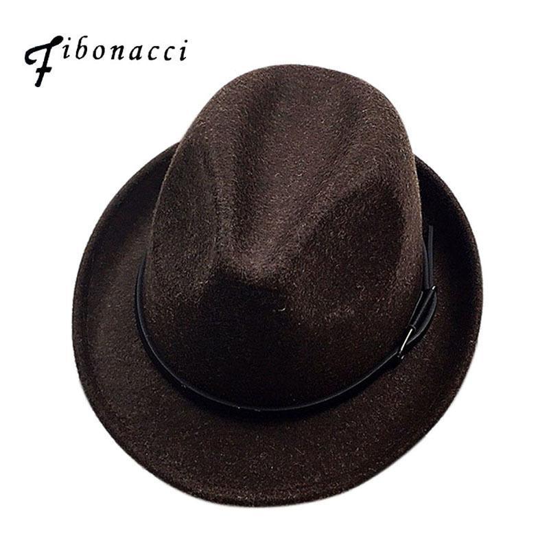 e85a14196 Fibonacci 2017 New Fedoras Fashion Wool Felt Solid Color Jazz Small Hat Men  Women's Popular Vintage Fedora D19011102