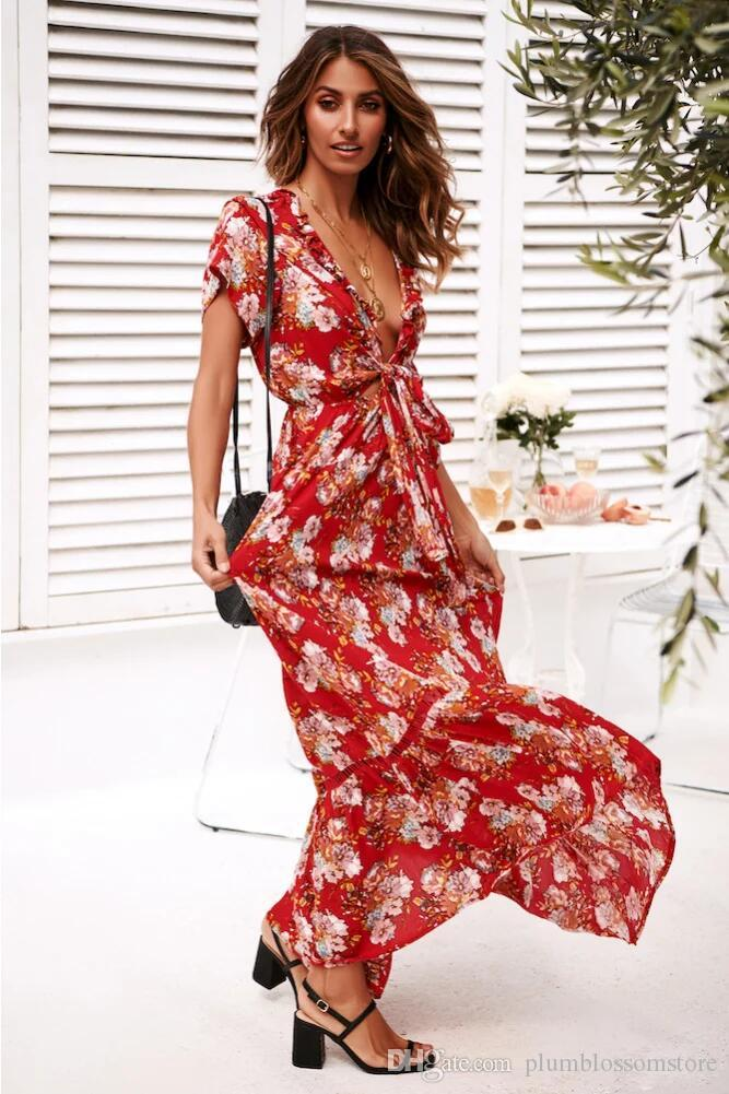 990fb2bb61 Summer Floral Print Dress Elastic Waist Casual Maxi Bohemian Dresses V Neck  With Tie Sexy Women Dress Long Boho Beach Holiday Dresses White Dress  Cocktail ...