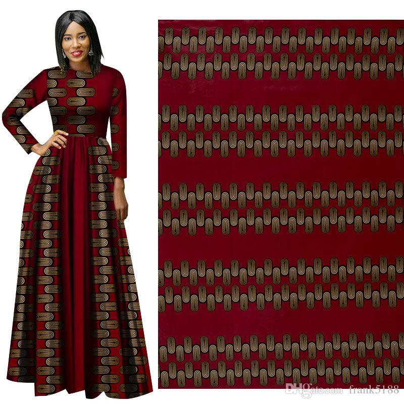 2019 New African Batik Fabric Ethnic Style Red Leaves Printed Cotton Fabric Good Quality Suit Dress Clothing Cloth Wholesale Fashionable Patterns Apparel & Merchandise