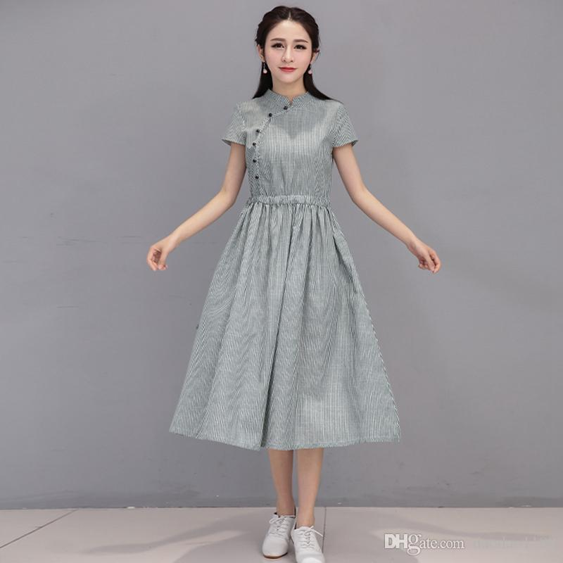 a82ee43cc593 Women Summer Dress Short Sleeve Plus Size Dresses Cotton And Linen Striped  High Waist Vintage Woman Dress Pink Dresses For Teenagers Peplum Maxi Dress  ...