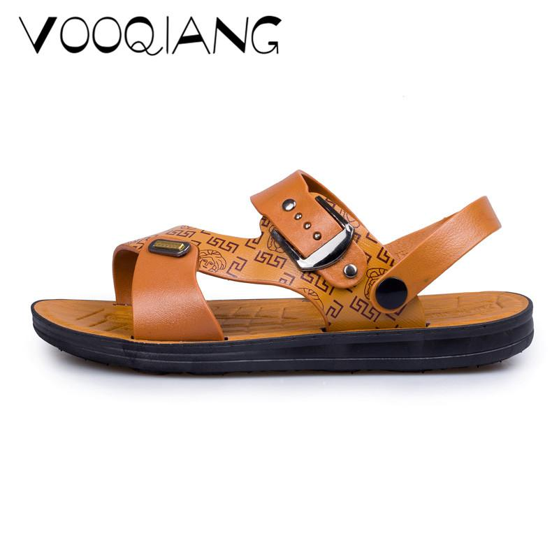 d80d8e229f1 Men Fashion Sandals Summer Slippers Genuine Leather Shoes Beach Casual  Breathable Home Slippers Men Shoes Flip-Flops Zapatos Online with   42.04 Piece on ...