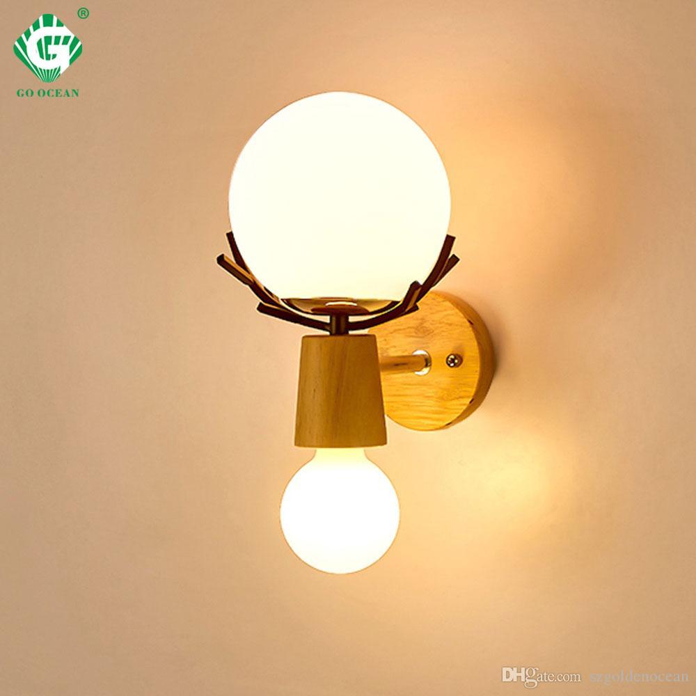 E27 Chevet Ampoule Salon Applique Rétro Creative Hôtel Luminaire Led Chambre Bois Murales Home Intérieur Appliques En Éclairage Murale IeEH2YWbD9