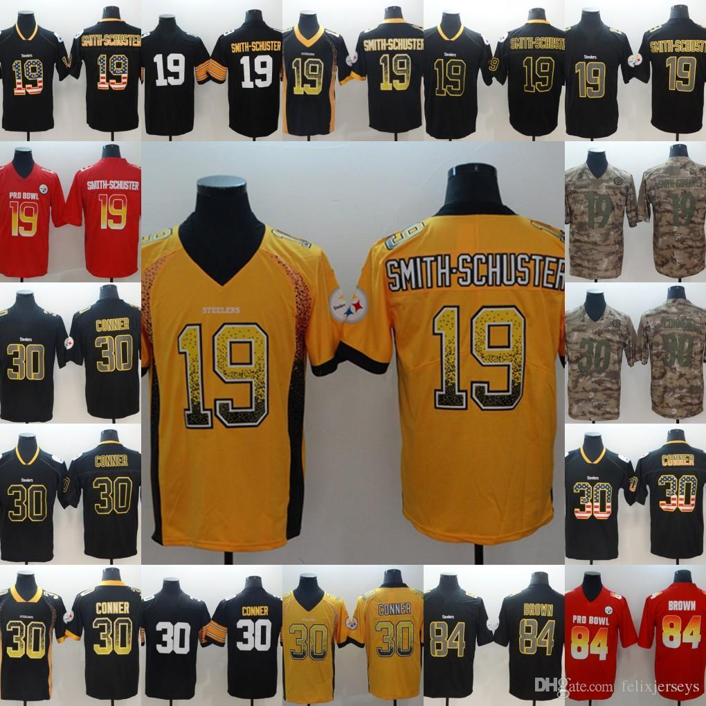 buy online ba9e9 15d68 Steelers jersey 19 Smith-Schuster Black 2019 Draft 30 James Conner Black 84  Antonio Brown Red jerseys Free Shipping men