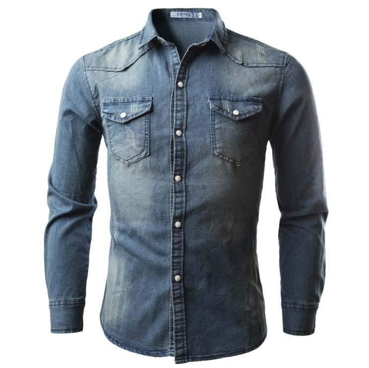 e55a5865d4 2019 Denim Shirt Men S Spring Long Sleeve Double Pocket Plain Color Shirt  Casual Slim Jeans Jacket High Quality Street Wear From Xynm