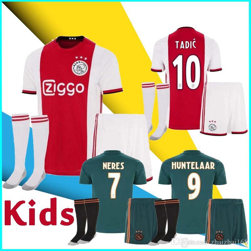 77b28f07a 2019 2020 Ajax FC Kids Soccer Jerseys Uniforms Home Away DE LIGT VAN DE  BEEK TADIC ZIYECH DE JONG NERES Custom 19 20 Football Shirt Australia 2019  From ...