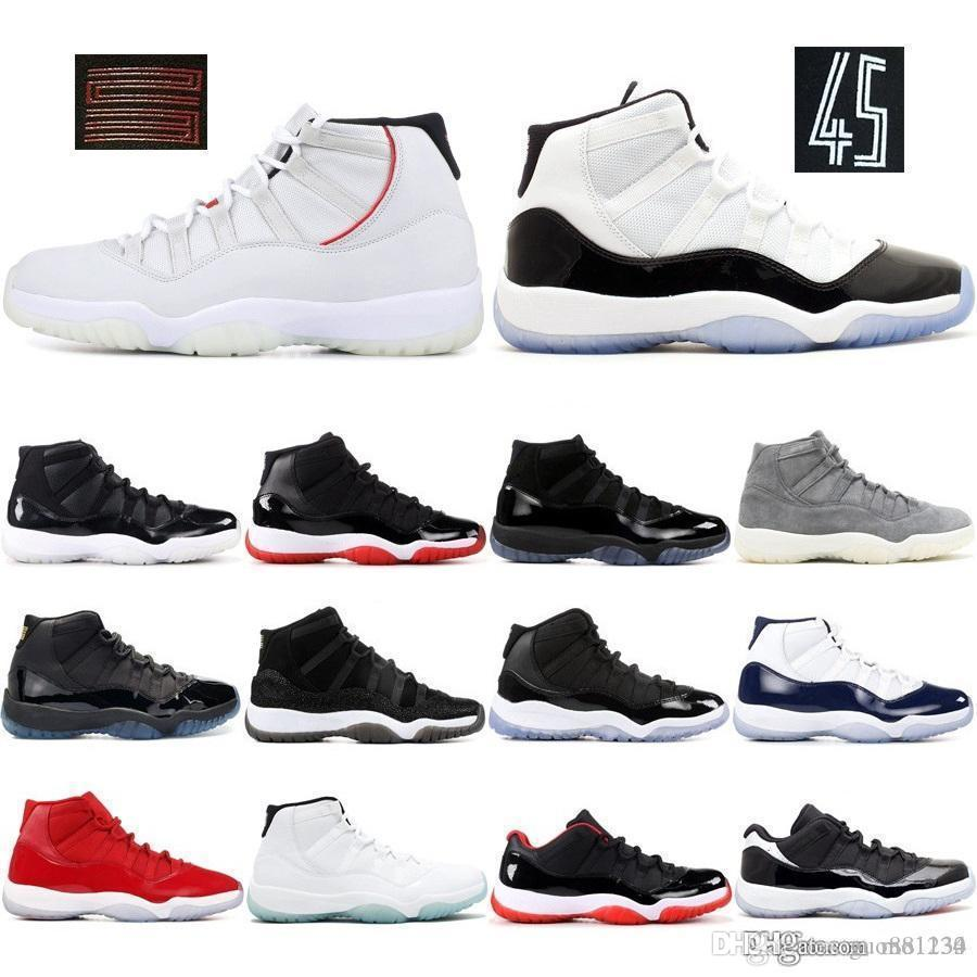 11 Mens 11s Tênis de basquete 2019 Novo Concord 45 Platinum Tint Space Jam Gym Red Win Like XI Designer Sneakers Men Sport Shoes