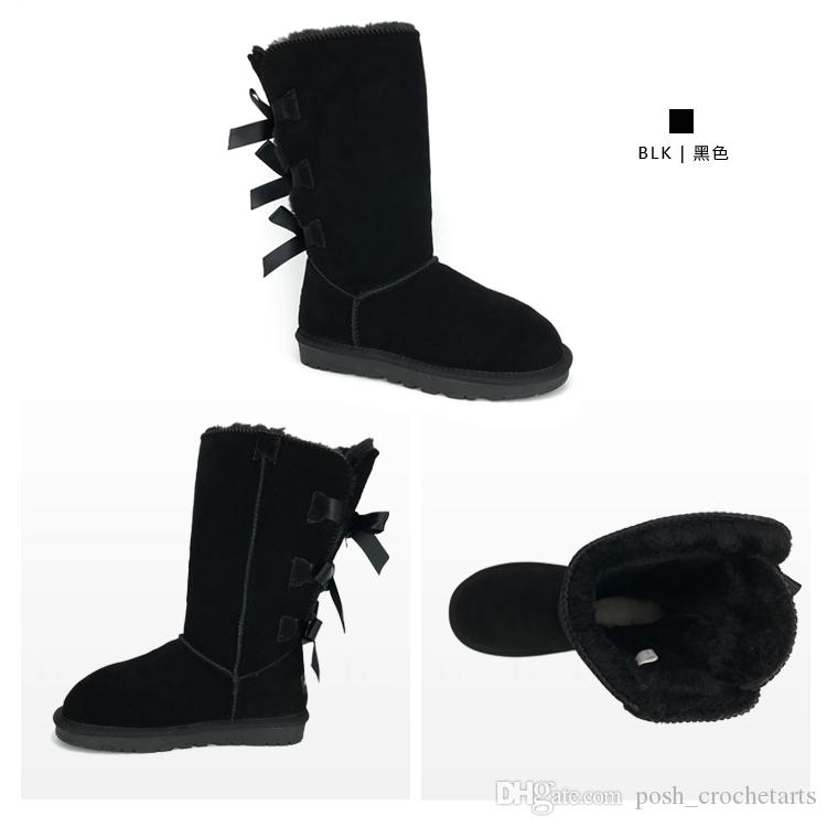 Genuine Leather Kee High Tall Boots Designer Snow boots With bows High Quality Booties For Teenagers Boots With Box