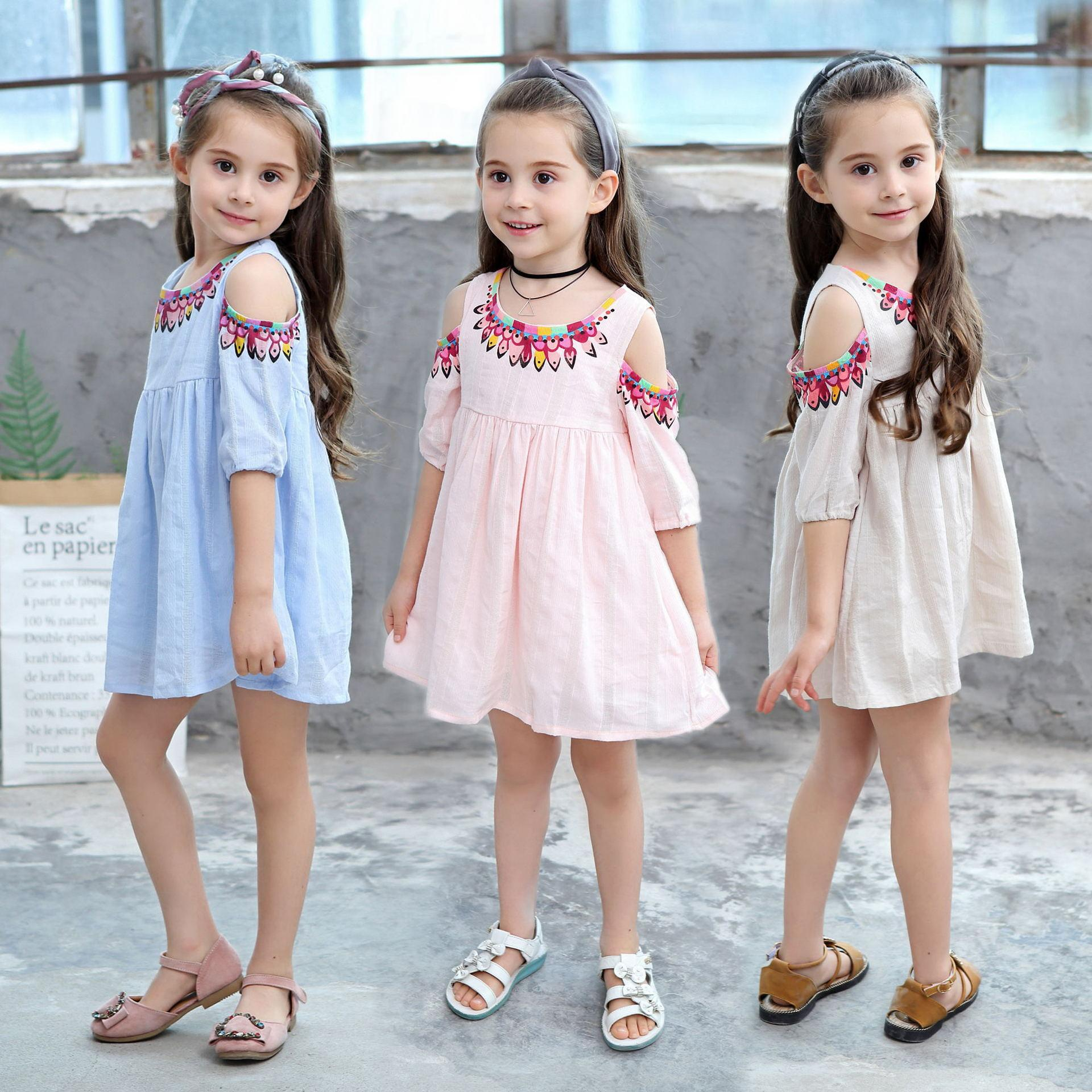 fba76f4d2350b Girls kids summer dress baby clothes Princess off shoulder hollow out ethic  style Bohemian party beach dress 100cm-150cm