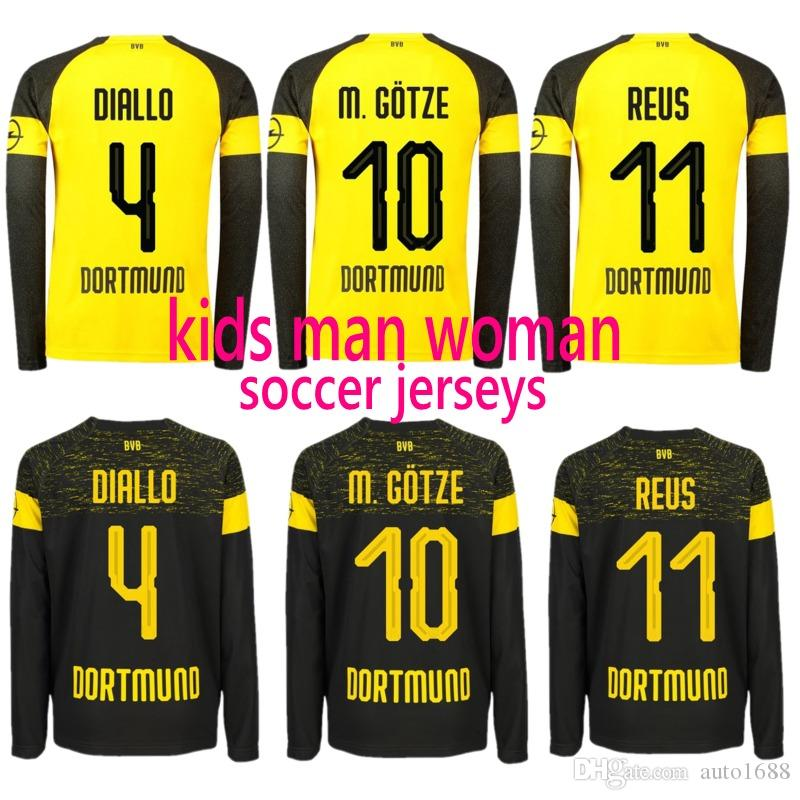 8645f0450eb5 2019 18 19 Soccer Jerseys Bundesliga Kids Adult Football Team Uniform Long  Sleeved M.GOTZE NO.11 REUS Jersey From Auto1688
