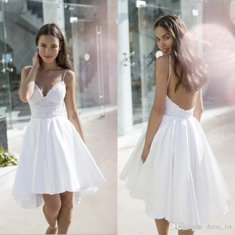 469a94bb2f6c Discount Latest 2018 Casual Beach Wedding Dresses Sexy Spaghetti Straps  Backless A Line High Low Hemline Lace And Taffeta Short Bridal Gowns  Wedding Dress ...