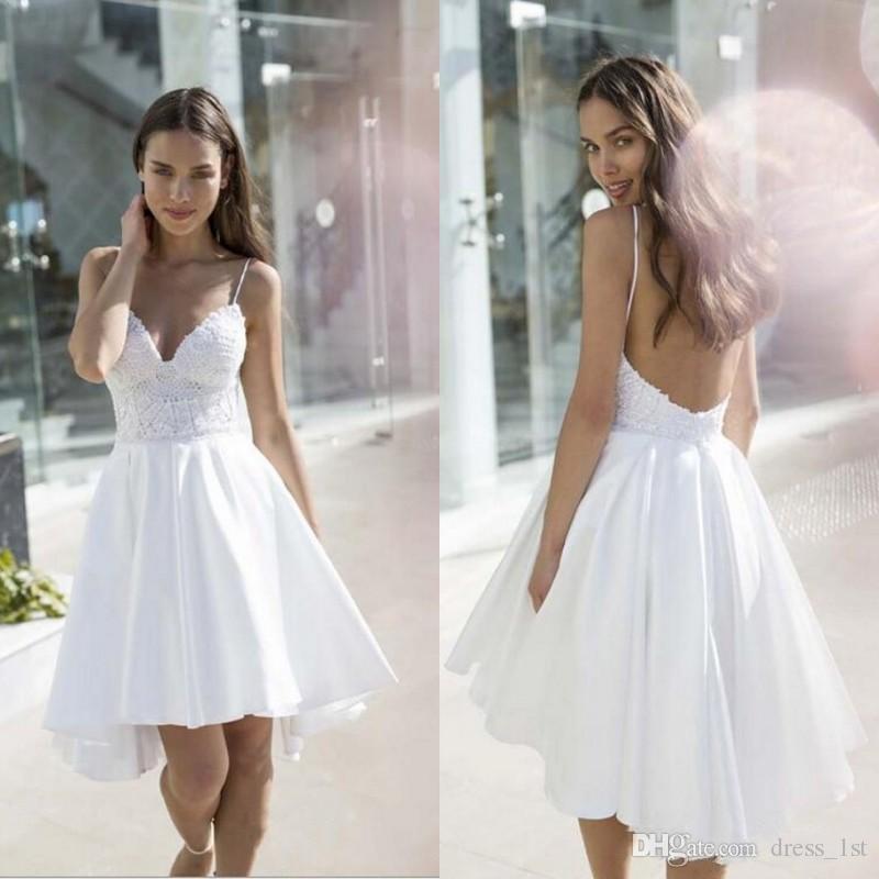 compre Últimos 2018 vestidos de novia casuales para la playa correas