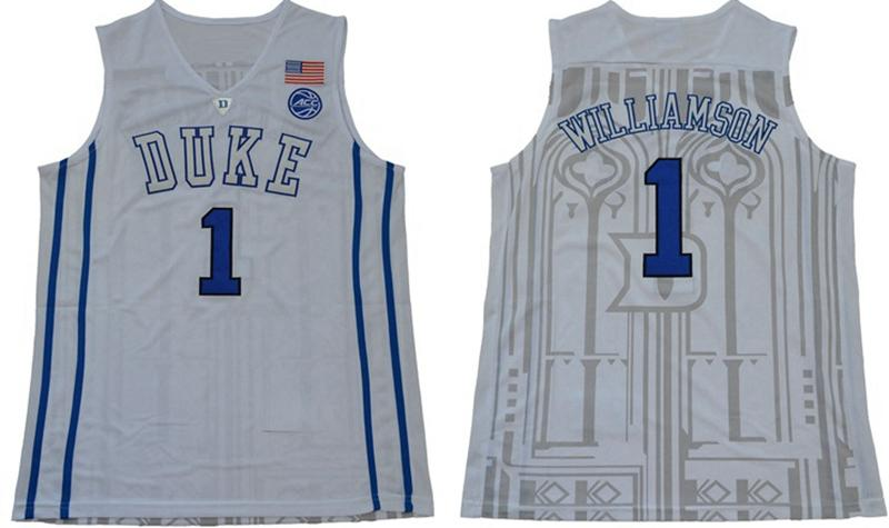 cac89b695ff College Basketball Duke Blue Devils 1 Zion Williamson 35 Marvin Bagley III  Jerseys 1 Kyrie Irving 0 Jayson Tatum Black White Blue Stitched Zion  Williamson ...